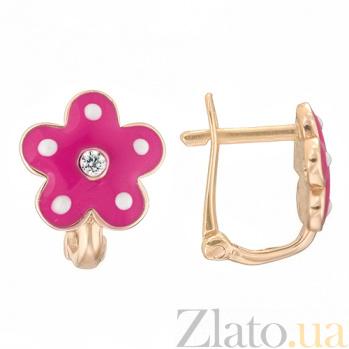 Детские золотые серьги с эмалью в малиновом цвете  Цветок 25246/2мал