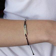 Браслет шелковый Believe (Верую) с серебряной вставкой