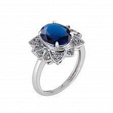 Серебряное кольцо Сияние с синей шпинелью и фианитами