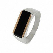 Серебряное кольцо-печатка Сальвадор с золотыми вставками и ониксом