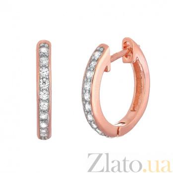 Позолоченные серебряные серьги с цирконием Хейзел SLX--С3Ф/400