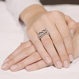 Кольцо из белого золота с белым и черным цирконием Вивьен