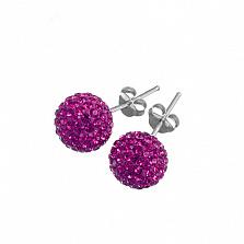 Серебряные пуссеты Алидея с розовыми кристаллами Сваровски