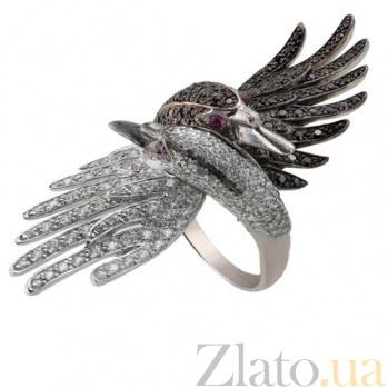 Кольцо из белого золота Лебеди с фианитами VLT--ТТ1302