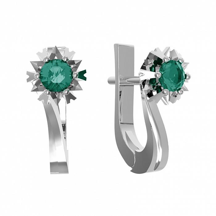 Серебряные серьги Наоми с зеленым кварцем 000079755
