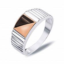 """Перстень печатка из серебра с золотом и обсидианом """"Франциск"""""""