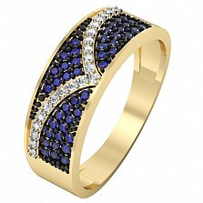 Кольцо из желтого золота с сапфирами и бриллиантами Миледи
