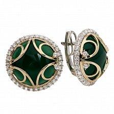 Серьги из серебра с золотом Прекрасная миледи с зеленым агатом