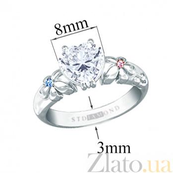 Золотое кольцо c сапфиром и топазами Сердце  30338st