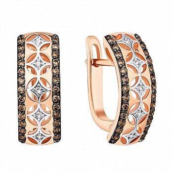 Золотые серьги в комбинированном цвете с коньячными и белыми бриллиантами 000139239