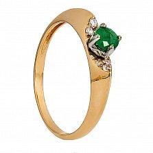 Золотое кольцо Жаклин с изумрудом и фианитами