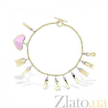 Золотой браслет с эмалью и аметистами Я люблю своих друзей 000029555
