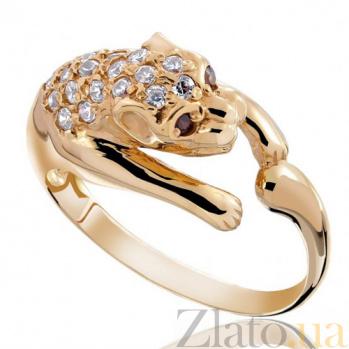 Золотое кольцо Пантера с белым цирконием EDM--КД0116