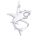 Серебряный родированный подвес Белая акула