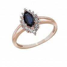 Кольцо из красного золота Домна с бриллиантами и сапфиром