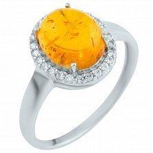 Серебряное кольцо Гарнет с янтарем и фианитами