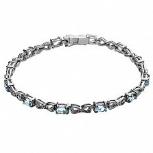 Серебряный браслет с голубыми топазами и фианитами Джейни