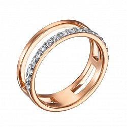 Двойное кольцо в комбинированном цвете золота с фианитами и родированием 000136370