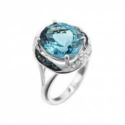 Кольцо из белого золота с голубым топазом, голубыми и белыми бриллиантами 000080891