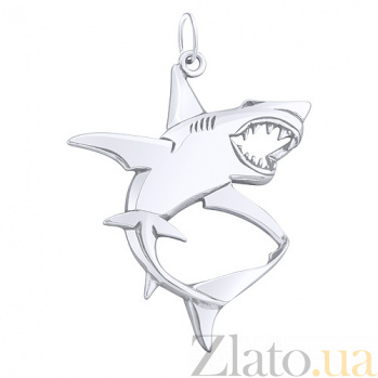 Серебряный родированный подвес Белая акула AUR--74602