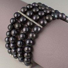Браслет Мирабель из черного жемчуга с серебряными вставками в фианитах