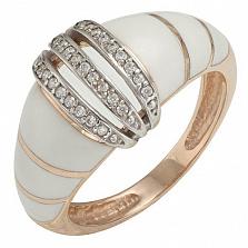 Золотое кольцо Эмелина с фианитами и эмалью