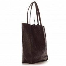 Кожаная сумка на каждый день Genuine Leather 7803 коричневого цвета на завязках