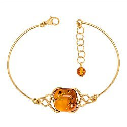 Серебряный позолоченный браслет с янтарем 000137495