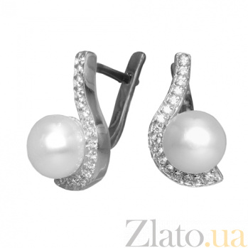 Серебряные серьги с жемчугом и фианитами Дары океана PTL--7с302/35