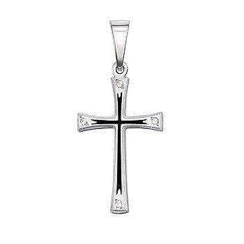 Крестик из белого золота с черной эмалью и фианитами 000106119