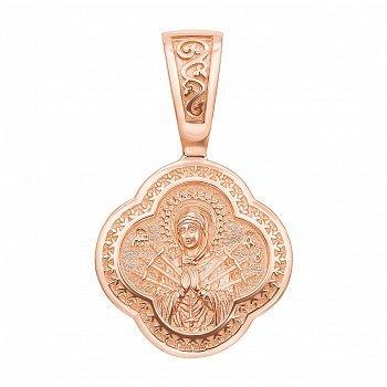 Ладанка из красного золота Семистрельна Божья Матерь c молитвой на тыльной стороне 000132946