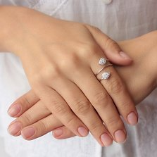 Серебряное кольцо-спираль Капли света с цирконием