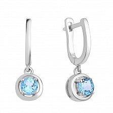 Серебряные серьги-подвески Анюта с голубым топазам