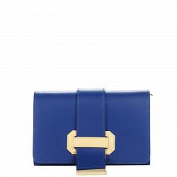 Кожаный клатч Genuine Leather 1541 синего цвета с декоративной пряжкой на клапане 000092378
