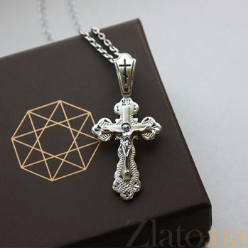 Серебряный крестик Воскресение с чернением 000032539