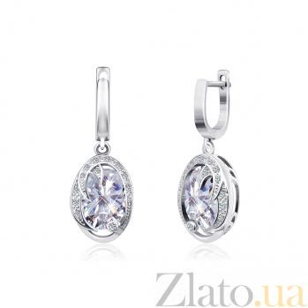 Серебряные серьги-подвески Каталина с фианитами 000024639