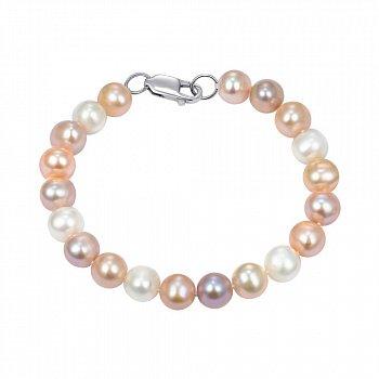 Серебряный браслет из розового и белого жемчуга