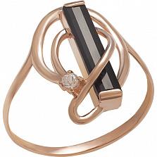 Золотое кольцо с агатом и фианитом Теплые объятия
