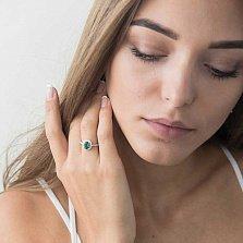 Золотое помолвочное кольцо Атрия с изумрудом и бриллиантами