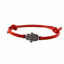 Кожаный браслет с серебром Hamsa Red с чернением