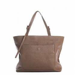 Кожаная деловая сумка Genuine Leather 8894 цвета тауп на молнии, с накладным карманом на кнопке