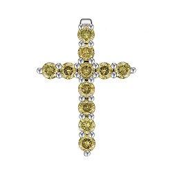 Крестик из белого золота с желтыми бриллиантами 0.55ct 000145340