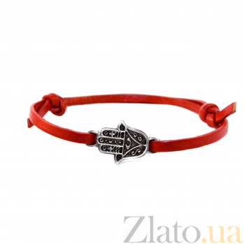 Кожаный браслет с серебром Hamsa Red с чернением 000091411