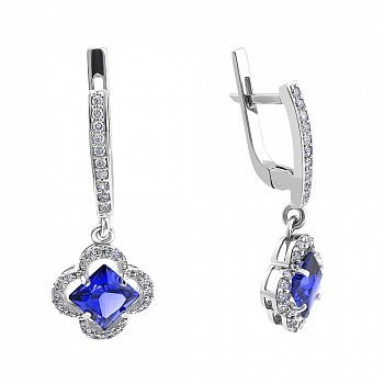 Серебряные серьги-подвески с синими альпинитами и белыми фианитами 000102298