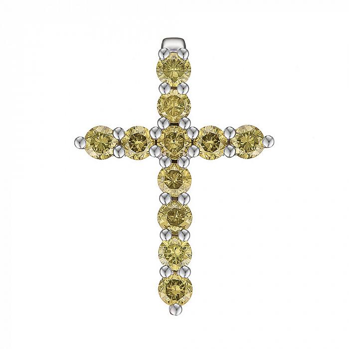 Крестик из белого золота с желтыми бриллиантами 0.55ct 000145340 000145340