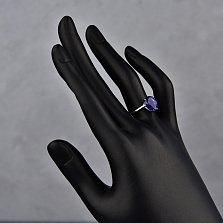 Серебряное кольцо Капля дождя с гидротермальным танзанитом