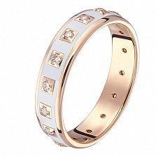 Кольцо в красном золоте Амира с бриллиантами и эмалью