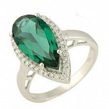 Серебряное кольцо Раймонда с синтезированным изумрудом и фианитами