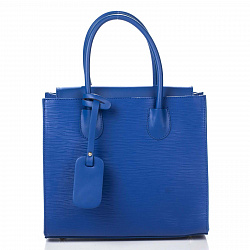 Кожаная деловая сумка Genuine Leather 8612 синего цвета на магнитной кнопке со съемным ремнем