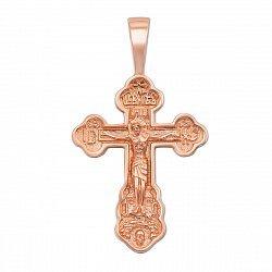 Золотой крестик Слава Господу в красном цвете 000117563